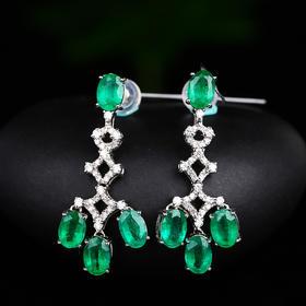【DD8111513】18k金 钻石 纯天然祖母绿耳环