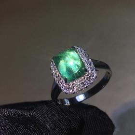 【DD8122161】18k金伴天然南非钻石镶嵌纯天然祖母绿戒指