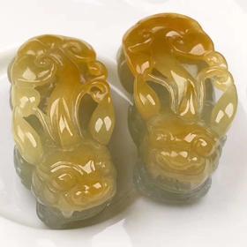 【JG9030110】天然精雕黄翡貔貅超值4400一对价