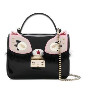 【香港直邮】QH Furla 芙拉 女士黑色猫咪PVC单肩包斜挎包 978625