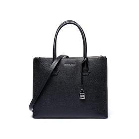 【香港直邮】QH Michael Kors 迈克·科尔斯 MERCER系列黑色牛皮女士手提包 30F6SM9T3L-Black