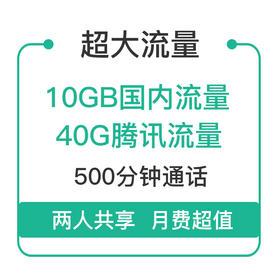 流量王89元套餐 ★10G国内流量,40G腾讯流量,500分钟语音通话★开通立即生效