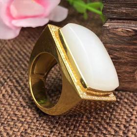 【E9022807】脂白和田玉籽料戒指