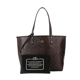 【香港直邮】Coach 蔻驰 TOTE系列深棕色PVC配皮女士包袋 F36658IMAA8