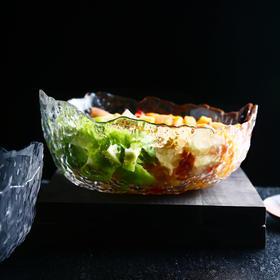 锤目纹异形玻璃沙拉碗