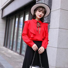 2019春装新款 韩版甜美木耳边丝带 花边学院风 长袖百搭小衫  红色