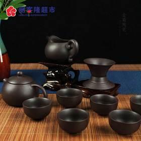 宜兴功夫茶具紫砂手工黑泥整套装泡茶家用茶杯茶壶办公紫韵西施壶套装