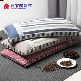 水洗全棉成人荞麦壳枕头学生宿舍条纹荞麦皮枕芯带枕套