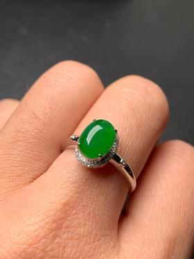 【JG9030907】缅甸纯天然满绿戒指
