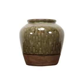 新仿瓷器仿古瓷器黄釉罐QQ18010048 Newly made Porcelain Big green jar