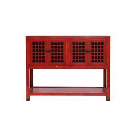 新仿榆木新中式红花格四门柜红漆柜玄关桌QB18040049 Newly made Elm wood Red cabinet