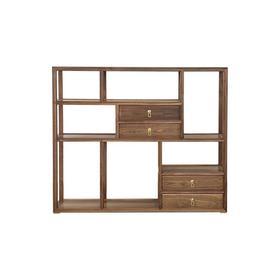 新仿黑胡桃木新中式四屉双面多宝阁书架架子QN1609000766 Newly made Black walnut wood Reproduction Double side display shelf