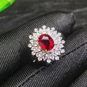 【DD9022612】莫桑比克无烧鸽血红红宝石戒指