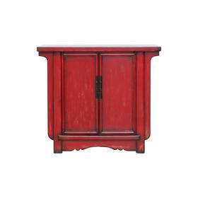 新仿榆木新中式红漆柜二门柜小柜QB18040038 Newly made Elm wood Small red cabinet