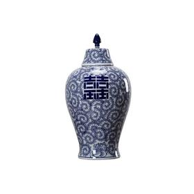 仿制瓷器陶器喜字梅瓶将军罐罐子花器WBH17060029  Newly made Porcelain blue and white vase with double happiness