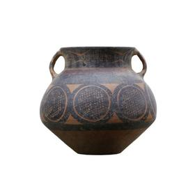 8330-1圆形纹饰陶罐 Small pottary jar with round deco.