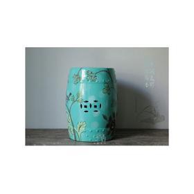 绿釉花鸟绣墩 HL-WBH-01014