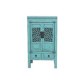 老改松木新中式二屉二门小柜蓝漆小柜小角柜QB18040044 Modified Pine wood Cabinet