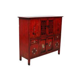 老改榆木新中式红漆柜橱柜餐边柜QB18040071 Modified Elm wood Red cabinet