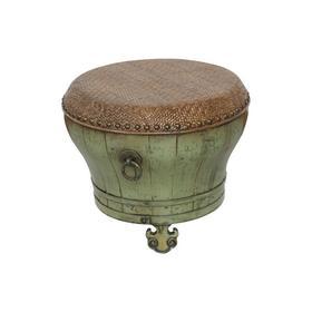 老改榆木新中式小脚盆凳小彩凳席面凳QB18040083 Modified Elm wood Small drum stool