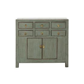 老改榆木新中式灰色六屉二门柜中号柜多屉柜QB18030012 Modified Elm wood Cabinet