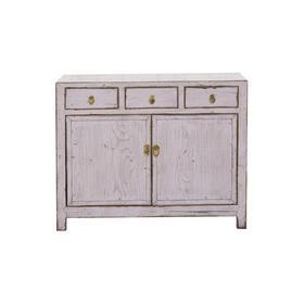 老改榆木新中式白灰三屉二门柜中号柜玄关柜QB18030011 Modified Elm wood Cabinet with drawers