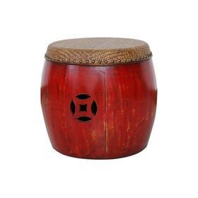 老改榆木新中式鼓凳绿圆凳红圆凳QB18040082 Modified Elm wood Drum stool