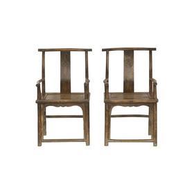 清晚期榆木明清老家具扶手椅(对)椅子官帽椅Q1603002960 Antique Elm wood Pair of chair