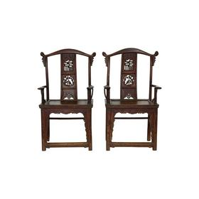 清晚期榆木古董家具官帽椅(对)扶手椅四出头椅QCHA18010025 Antique Elm wood Pair of chair