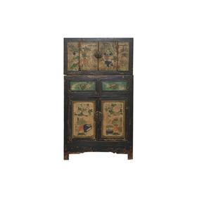 清晚期杨木中式古董家具五彩顶箱柜中号柜柜子Q11090041400