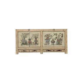 清晚期杨木中式古董家具四门画柜双门柜边柜QB17110029
