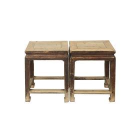 清晚期榆木中式古董家具方凳(对)凳子边几QB17100025