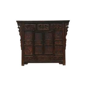 清晚期榆木中式古董家具三屉雕花供桌供桌中号柜Q0504059665