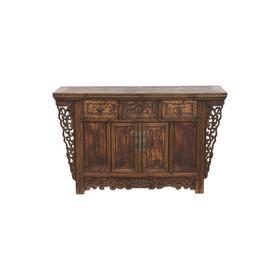 清晚期榆木明清老家具三屉二门柜二屉桌子玄关柜QCHA18040010 Antique Elm wood Cabinet