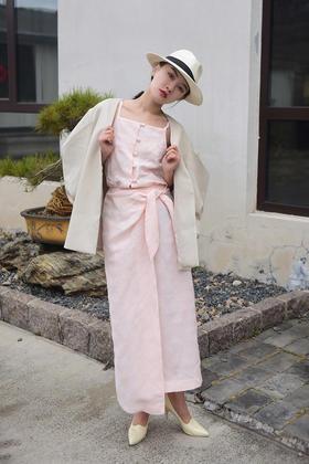 半生缘 新中式棉麻淡粉吊带连衣裙