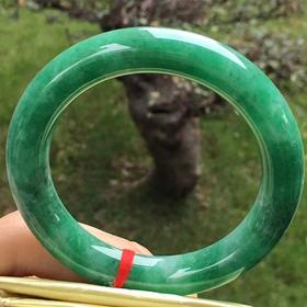 【B8122501】缅甸天然翡翠满绿圆条手镯