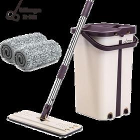 【抖音网红爆款拖把桶 清洗脱干2合1】宾卡加BIKAGA第四代免手洗平板拖把,3分种搞定90㎡