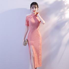 改良时尚,蕾丝前开叉旗袍裙YM-83205