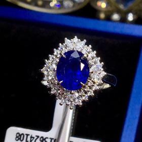 【D9031627】无烧蓝宝石戒指 18K金豪镶天然钻石款