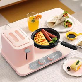 【五分钟早餐全搞定】东菱(Donlim)多功能早餐机 三合一多士炉 吐司肉松家用烤面包机 蒸煮煎烤烙样样精通