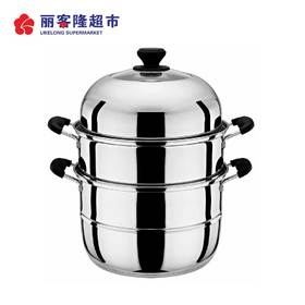 蒸雅(加厚)蒸馒头的蒸锅不锈钢蒸笼3层家用煤气灶锅具厨具酒店
