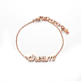 希腊Folli Follie芙丽芙丽女款腕饰DREAM字母手链3B16T014RC(玫瑰金色)
