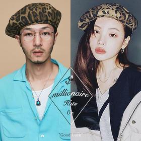 Millionaire Hats韩国设计师品牌个性时尚纯棉豹纹贝雷帽女坏月亮PLUS