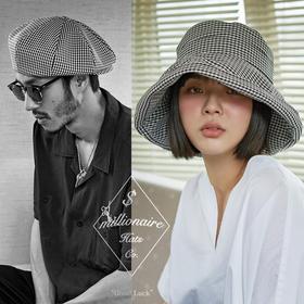 Millionaire 韩国设计师品牌千鸟格系列渔夫帽报童帽贝雷帽坏月亮PLUS