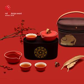 小巨蛋中国风富贵吉象便携旅行功夫茶具整套快客杯礼品装