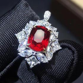 【D9011020】无烧鸽血红红宝石戒指吊坠两用款