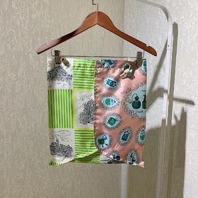 manipuri 印花丝巾单肩包 粉色拼绿色款
