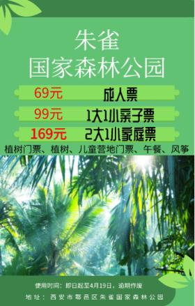 【亲子】【2大1小家庭票】朱雀国家森林公园植树门票+植树+儿童营地门票+午餐+风筝
