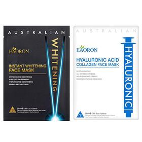 澳洲EAORON 水光针黑面膜 深层净化黑炭 水光针白面膜 玻尿酸胶原蛋补水保湿提亮肤色 5片/盒 白+黑面膜组合装