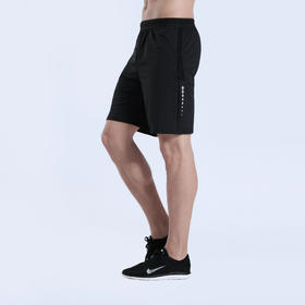 男士夏季新品 速干弹力 运动短裤  黑色#宝蓝色